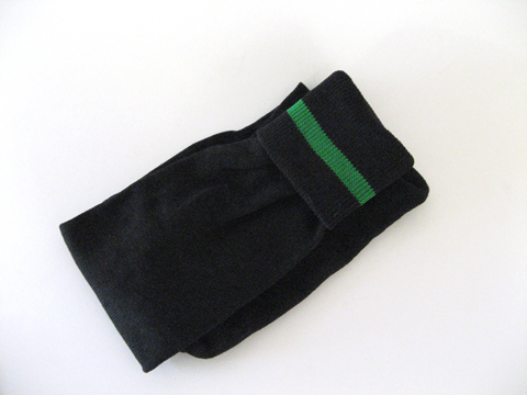 Black with green stripe line soccer socks knee high length [3Pairs]