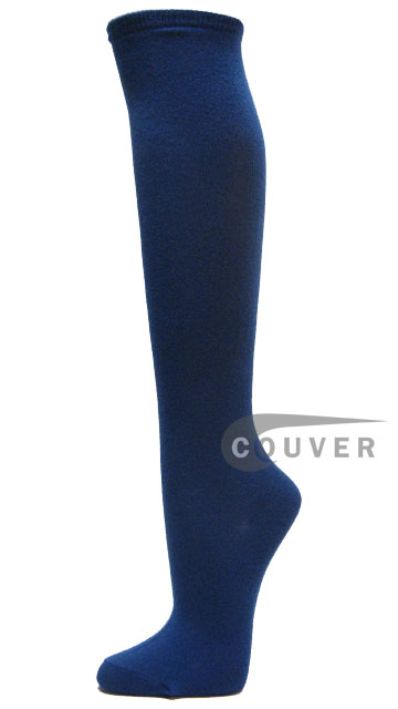 Blue Cotton Fashion/Casual Knee High Socks from Couver 6PAIRS