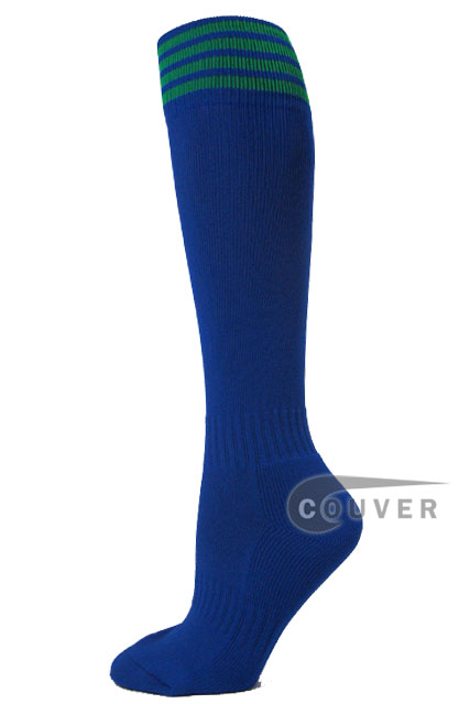Blue with green stripe youth football/sport High socks, 3PAIRS