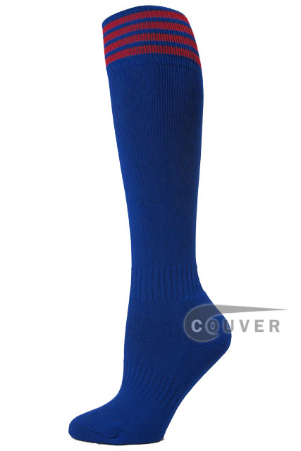 Blue with red stripe youth Football/ Sports High sock, 3PAIRS