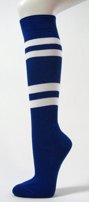 Blue with 4White Stripes Couver Sports/Softball Knee Socks 3PRs