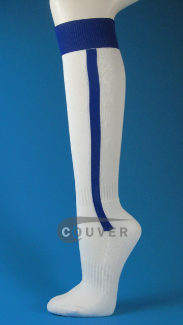 White and Blue vertical stripe baseball softball knee socks