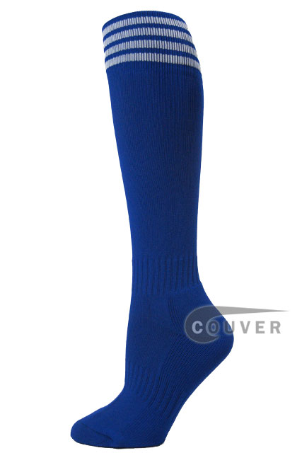 Blue with white stripe youth football/sport High socks, 3PAIRS