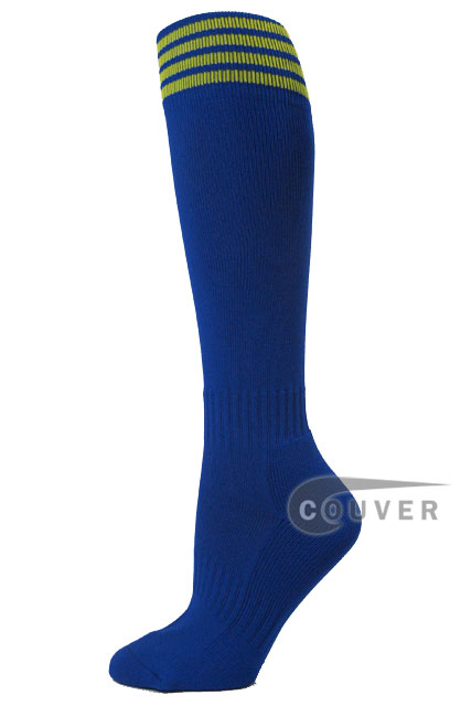Blue with yellow stripe youth football/sports High socks, 3PRS