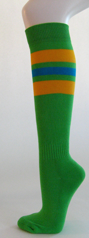 Bright green golden yellow bright blue stripe knee high softball 3PAIRs