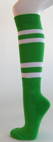 Bright Green w White Couver Stripe Sport/Softball Knee Sock 3PRs