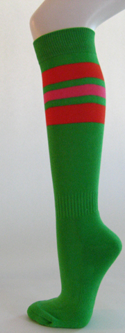 Bright green dark orange bright pink stripe knee softball socks 3PAIRs