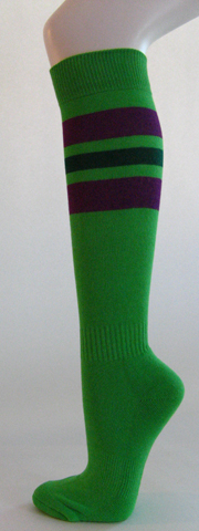 Bright green with purple dark green stripe knee softball socks 3 PAIRs