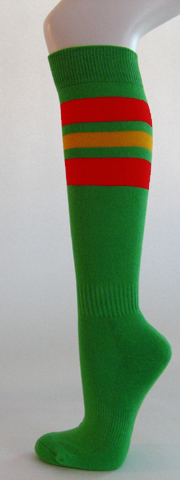Bright green with red golden yellow stripe knee softball socks 3 PAIRs