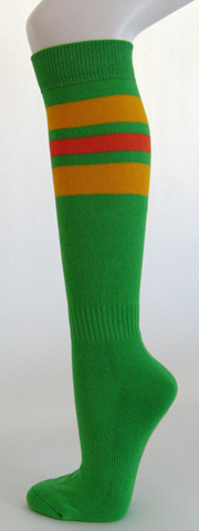 Bright green golden yellow orange stripe knee high softball socks 3PAIRs
