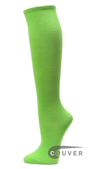 Couver Bright Lime Green Cotton Fashion/Casual Knee High Socks 6PAIRS