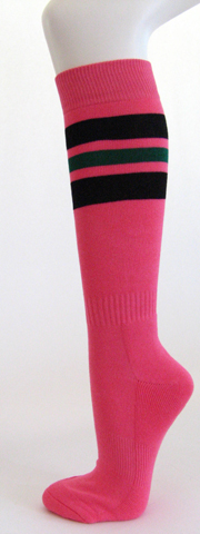 Bright pink black dark green stripe knee high softball socks 3 PAIRs