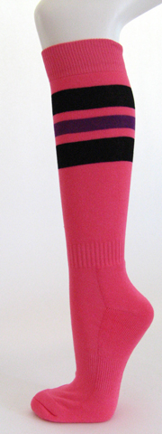 Bright pink with black and purple stripe knee high softball socks 3PAIRs