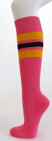 Bright pink with golden yellow black stripe knee high socks 3PAIRs