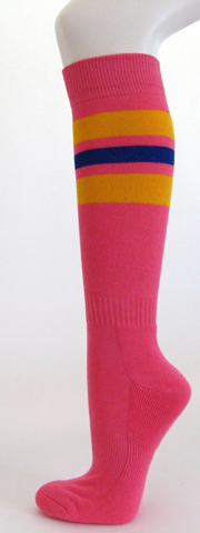 Bright pink with golden yellow blue stripe knee high socks 3 PAIRs