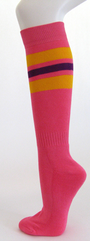 Bright pink golden yellow purple stripe knee high socks[ 3PAIRs ]
