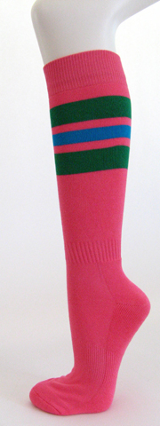 Bright pink with green bright blue stripe knee high softball socks 3PAIR