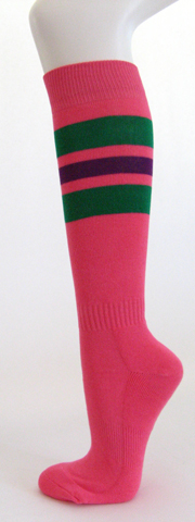 Bright pink with green and purple stripe knee high socks [3 PAIRs]