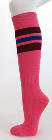 Bright pink with maroon and purple stripe knee high softball socks 3PAIR