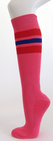 Bright pink with red and blue stripe knee high softball socks [3PAIRs]