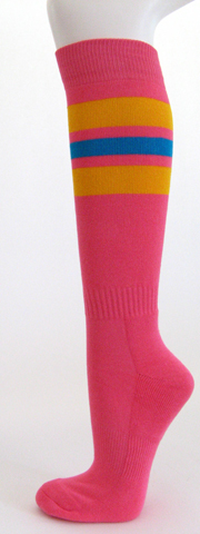 Bright pink with golden yellow bright blue stripe knee high socks 3PAIRs