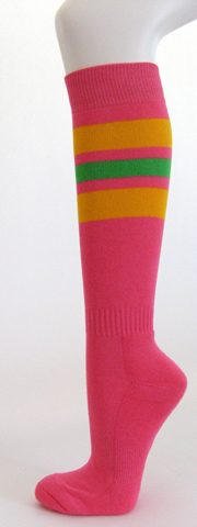 Bright pink with golden yellow bright green stripe knee high sock 3PAIRs