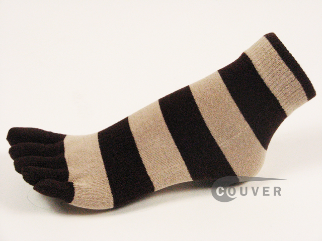 Brown and Beige Striped COUVER Cute Ankle Toe Toe Socks, 6Pairs