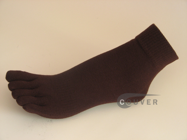 Brown COUVER 5finger Toed Ankle Toe Socks Wholesale, 6PRs