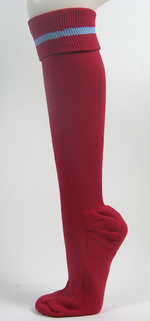 Cardinal soccer knee socks with light sky blue stripe [3Pairs]