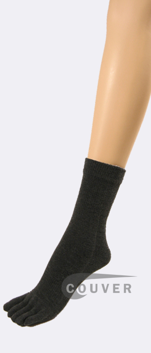 Charcoal Gray/Dark Grey Couver Toe Socks Quarter Wholesale, 6PRS