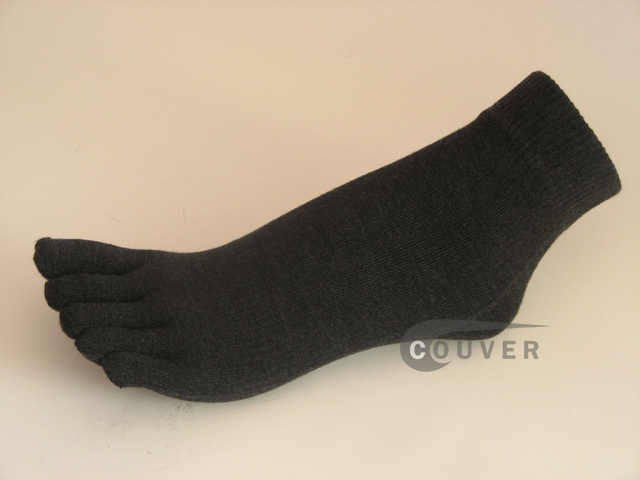 Charcoal Gray(Dark Grey) 5finger Ankle Toe Socks Wholesale, 6PRs