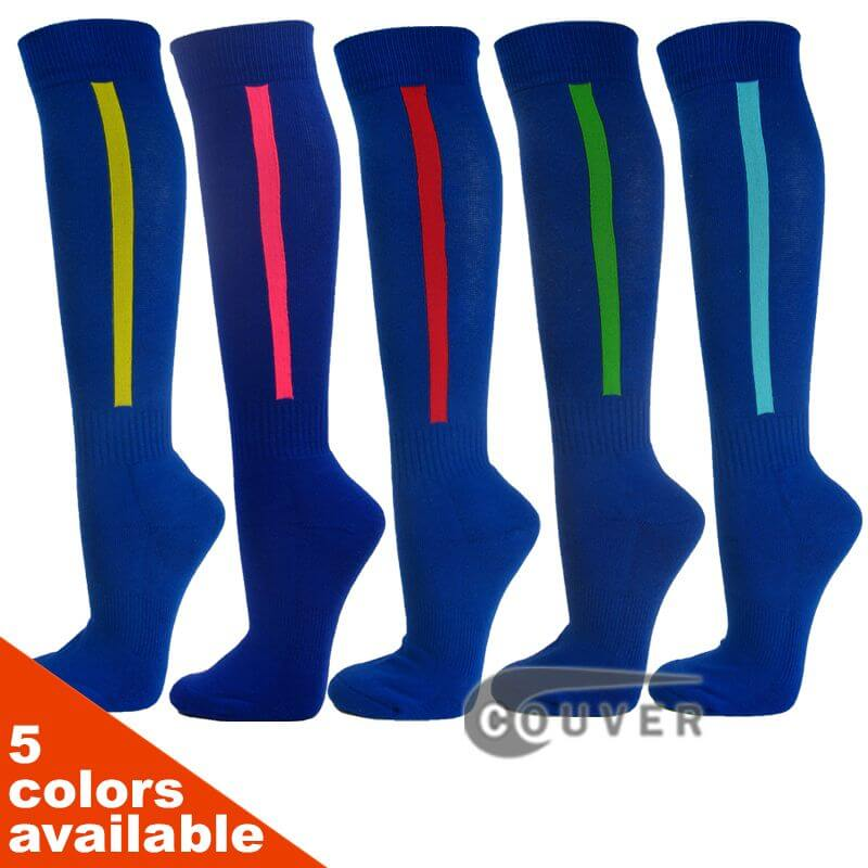 Premium Blue Baseball Softball Knee High Socks with Vertical Stripe