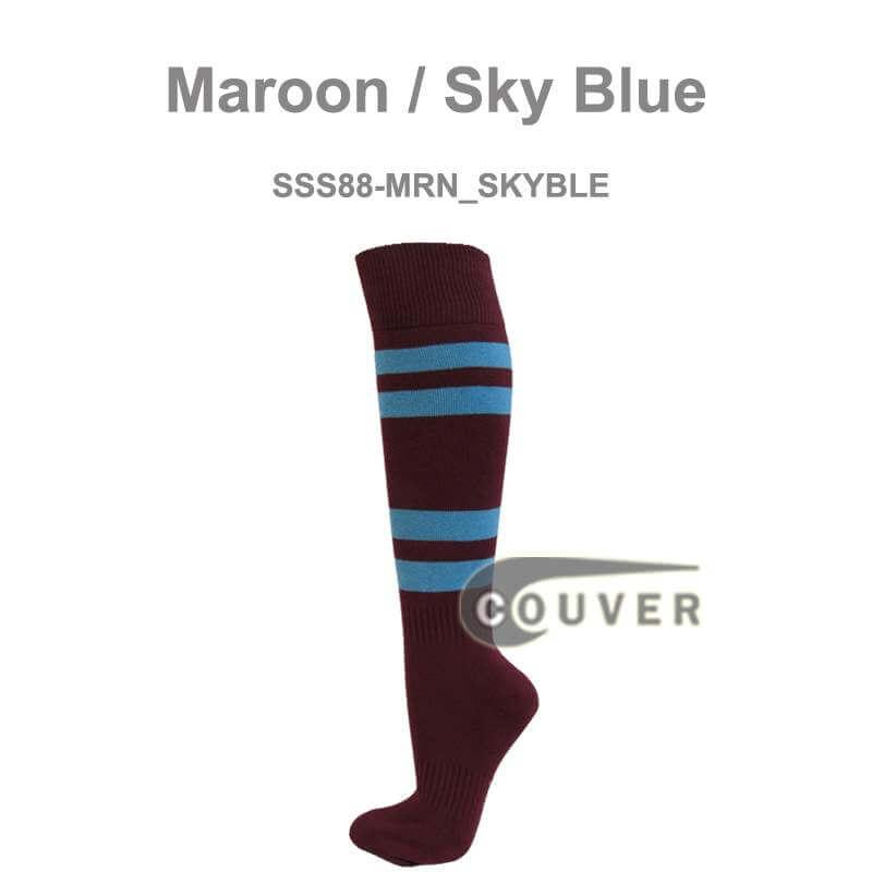 adult baseball maroon sock