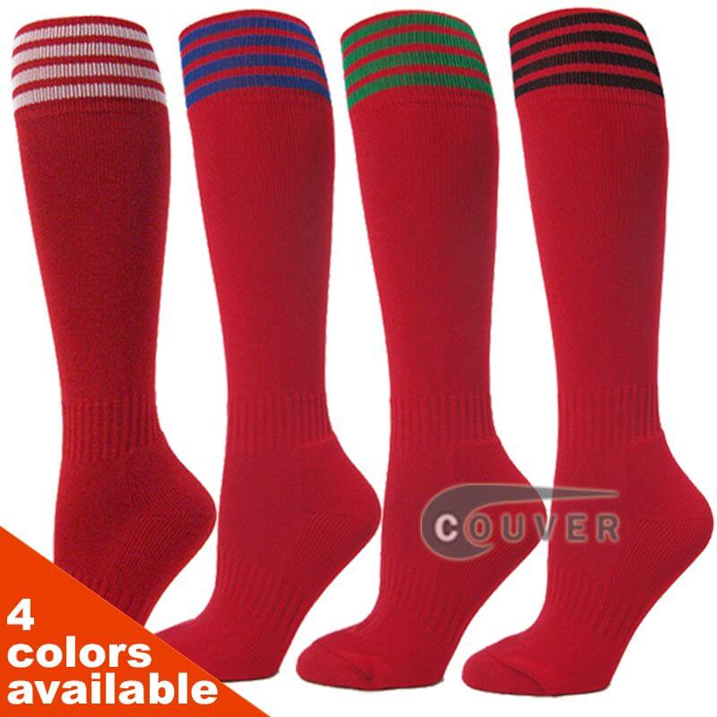COUVER Youth Nylon Striped Red Sports Knee High Socks - 3Pair Pack