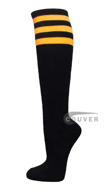 Yellow Striped COUVER Black Cotton Fashion Non-athletic Knee Socks 6PRs
