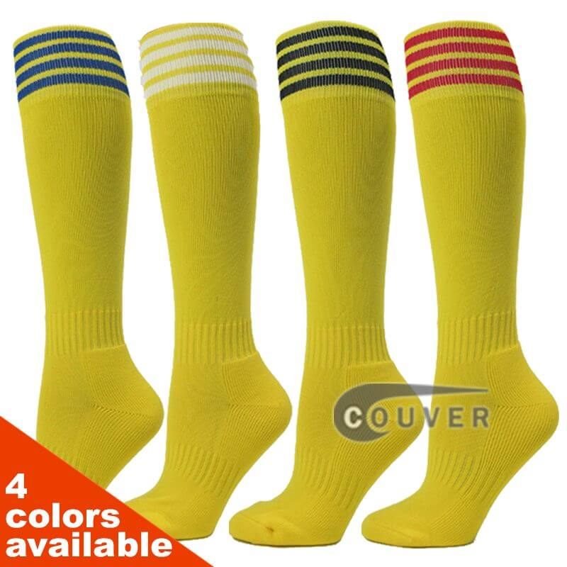 COUVER Bright Yellow Stripe Youth Sport/Football Knee Socks - 3Pair Pack