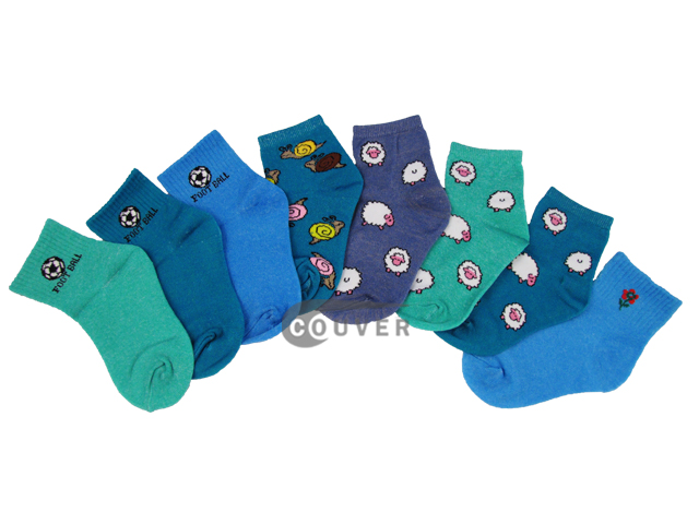 Couver Assorted Colors and Designs of Kid's Socks,[12 Pairs]