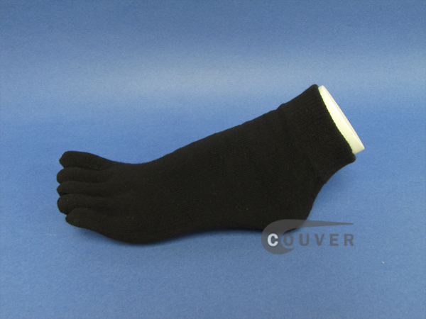 Thicker/Winter Black ankle toe socks terry cloth, 6 Pairs