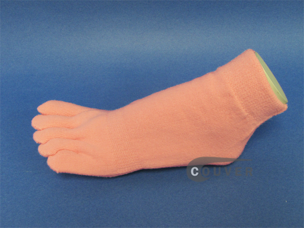 Thicker/Winter Light Pink ankle toe socks terry cloth, 6 Pairs