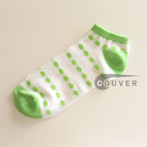 Lime Green Polka Dots on White NoShow Socks Wholesale 12PAIRS