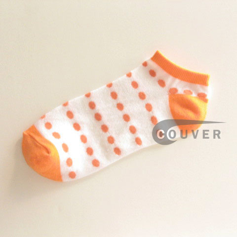 Orange Dots on White NoShow Socks Wholesale 12PAIRS