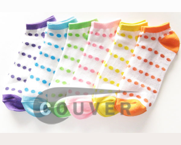 Polka Dots on White NoShow Socks Mix in Color Wholesale 12PAIRS