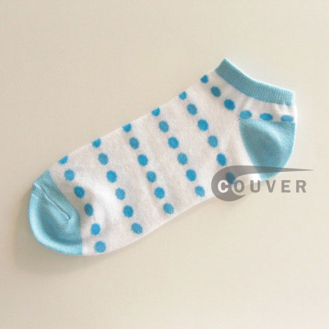 Sky Blue Polka Dots on White NoShow Socks Wholesale 12PAIRS