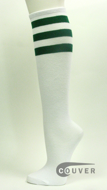 Dark Green Stripe on White Couver Cotton Fashion Knee Socks 6PAIRS