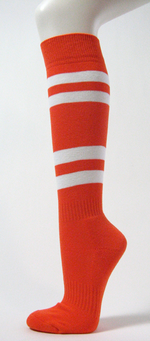 Dark Orange w White Striped Couver Softball/Sport Knee Sock 3PRs
