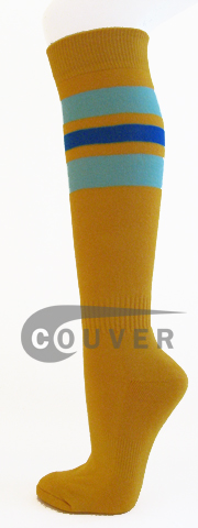Couver Gold Yellow with Sky blue & Royal Blue Striped Knee Socks[3Pairs]