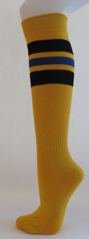 Golden yellow with black and blue stripe knee high softball sock 3PAIRs