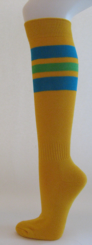 Golden yellow with bright blue, green stripe knee softball Socks 3 PAIRs