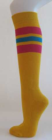 Golden yellow with hot pink bright blue striped knee high softball 3PAIR