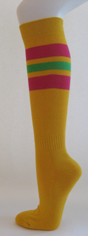 Golden yellow with hot pink bright green striped knee high softball 3PRs